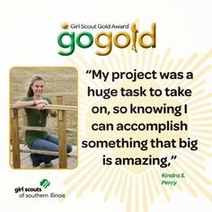 Kindra S. from Percy earned the Girl Scout Gold Award for constructing a safe pathway around the city park for community member's exercise and recreation.