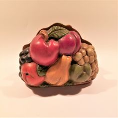 Vintage Fruit Napkin Holder, Ceramic fruit napkin holder , Country kitchen fruit decor by Brookesrepurpose on Etsy