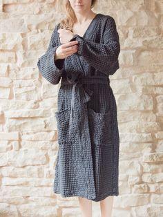 Dark grey unisex bathrobe / linencotton bathrobe by AngelHomeGoods