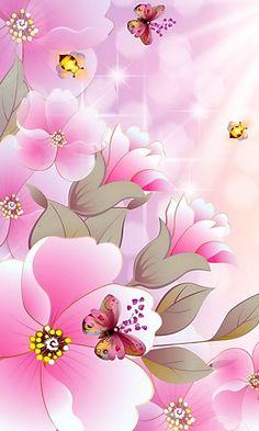 By Artist Unknown. Ocean Wallpaper, Flower Phone Wallpaper, Phone Screen Wallpaper, Butterfly Wallpaper, Pastel Wallpaper, Love Wallpaper, Cellphone Wallpaper, Iphone Wallpaper, Beautiful Flowers Wallpapers