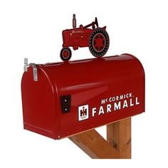 Mailbox Covers Farmall McCormick Model M Rural Mailbox with Topper Red Outdoor Living Rural Mailbox, Mailbox Post, Mailbox Ideas, Country Mailbox, Red Mailbox, Vintage Mailbox, Modern Mailbox, Farmall Tractors, Ford Tractors