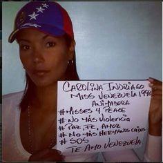 """Miss Venezuela 1998 Carolina Indriago. #Misses4Peace #SOSVenezuela pic.twitter.com/k7Y3Nk8T7Y"" #ReCivilVnzla #CalleSinRetorno"