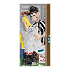 Club Pack of 12 Game Day Football Referee Restroom Door Cover Party Decorations 5', Multi