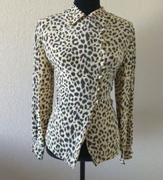 Vintage Christian Dior Blouse Silk Animal Print Womens Size 10 Button 1970 1960    Clothing, Shoes & Accessories, Vintage, Women's Vintage Clothing   eBay!