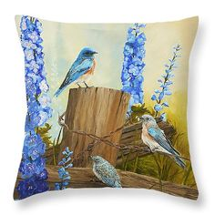 "Bluebird Family and Delphiniums Throw Pillow 14"" x 14"" (shown) 20"" x 14"" also available by Johanna Lerwick - Wildlife/Nature Art. Prints (paper, canvas, acrylic & metal), greeting cards and throw pillows available."