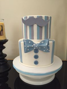 Baby shower. Cake  bow tie mustache theme