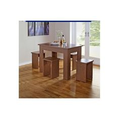 Legia Walnut Space Saving Dining Table and 4 Stools. at Homebase -- Be inspired and make your house a home. Buy now. £99.99
