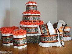BOY BABY SHOWER SET ORANGE BROWN CAMO DIAPER CAKE BASSINETS MINI CAKES NEW