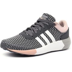 Adidas Neo Cloudfoam Race Onix/White/Pink ($76) ❤ liked on Polyvore featuring shoes, mid-heel shoes, white mid heel shoes, fleece-lined shoes, adidas neo shoes and lightweight shoes