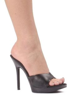 bad5e394231a6 Womens 5 Inch Heel Clear Mule Black PU8  gt  gt  gt  Learn more