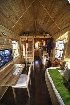 tiny house loft and living area