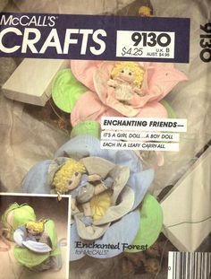 McCall's 9130 Enchanted Forest Baby Dolls Sewing Pattern New Uncut