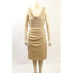 The dress is very flattering with ruching at the sides and a scoop neck. The dress is also fully lined and is a stretch material. Metallic Formal Dresses, Metallic Cocktail Dresses, Hot Dress, Exclusive Collection, Designer Dresses, Size 16, Scoop Neck, High Neck Dress, Ralph Lauren