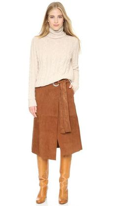 12 cute ideas to remember for fall, including Tibi's suede knee-length skirt