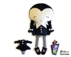 Wednesday Doll Sewing Pattern PDF Gothic Girl by DollsAndDaydreams, $12.99