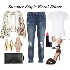 STYLE TIP-style a floral blazer with jeans, heels, and a simple T-shirt for a polished and fun summer look | STYLE'N
