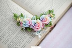 Pastel rainbow rose necklace Clay roses jewelry tie dye