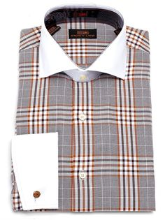 Steven Land Men's Plaid 100% Cotton French Cuff Dress Shirt- DS1137 Brown