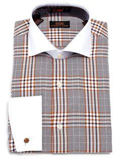 Steven Land Men's Plaid 100% Cotton French Cuff Dress Shirt- DS1137 Brown