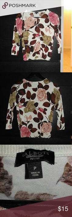 Talbots Rose Cardigan - 5/2 Good condition. Sz P or XS. Sleeves are 3/4 length. Hole pictured which is on right sleeve. Talbots Sweaters Cardigans