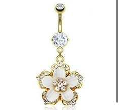 Gold flower belly button ring