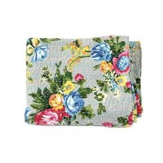 Image of Grey Floral Kantha Throw - Queen