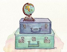 Watercolor Painting - Vintage Suitcases and Globe - Blue and Green Travel Wanderlust Illustration - Original Painting 8x10