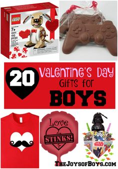 """It is hard to find """"Boy-approved"""" gifts for my boys on Valentine's Day. They would love these 20 Valentine's Day Gifts for Boys! day gifts for kids boys 20 Valentine's Day Gifts for Boys - The Joys of Boys Funny Valentine, Valentine Gifts For Boys, Kinder Valentines, Valentines Day Baskets, Valentines Diy, Valentine Stuff, Valentine Treats, Tween Boy Gifts, Frases"""