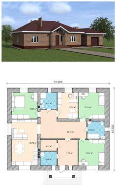 Проект простого одноэтажного дома 3 Bedroom Floor Plan, Piscina Interior, Home Fashion, Home Projects, Future House, Tiny House, Beautiful Homes, Architecture Design, House Plans