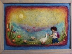 Wool painting  Geese keeper large size by AdiCeramicsAndArt, $65.00