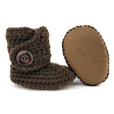 Crochet Baby Booties Gender Neutral Boots Oatmeal Walkers