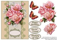 Card Front Edwardian Roses