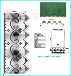 Filet Crochet, Crochet Borders, Knit Crochet, Crochet Curtains, Crochet Doilies, Knitting Stitches, Embroidery Stitches, Swedish Weaving, Crochet Table Runner