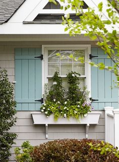 House of Turquoise: Jules Duffy Designs Love these shutters.style and color (don't like the plants in window box) Exterior Paint Colors, Exterior House Colors, Paint Colors For Home, Paint Colours, Grey Exterior, Exterior Shutter Colors, Exterior Color Schemes, Pintura Exterior, House Of Turquoise