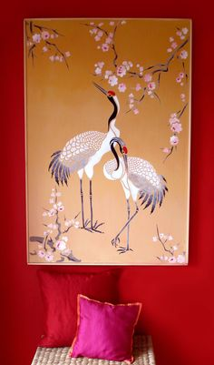 Red Capped Asian Cranes Stencil Large 1 sheet stencil The Large Standing Cranes Stencil comprises three elegant Red Capped East Asian Cranes. These special birds are held in high regard throughout China, Japan and across the Himalayas, where they are perceived to bring luck and good fortune and treated as sacred birds. Their large graceful body shapes and postures make extremely elegant design motifs for walls, murals, panels, wardrobes, fabrics and more.  Stencil in the natural tones of…
