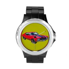 What Muscle car guy wouldn't love a cool classic car watch?  Watch face features a  red 1971 Chevy Chevelle.  Can be customized for style and band color.  #musclecargifts #coolcars