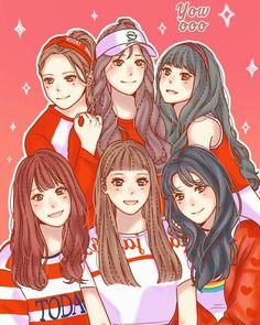 Gfriend Fanart Kpop SUNNY SUMMER Gfriend Album, Sinb Gfriend, Kpop Fanart, Japanese Drawings, Fan Art, G Friend, Fandom, Girl Bands, Hair In The Wind