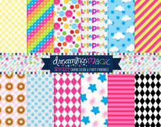 Lala Buttons n Stuff- Digital Paper Pack for Personal or Commercial Use. $5.00, via Etsy.