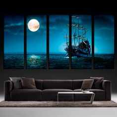 5 Panels Large Size Beautiful Moonlight Ocean Ship Modern Creative Landscape Photos Picture Wall Art Picture Modern Home Decor Living Room or Bedroom Canvas Print Painting DIY Murals House Decoration Posters Design for Men Boys Girls Without Frames Creative Landscape, Landscape Photos, Home Decor Pictures, Wall Art Pictures, House Painting, Diy Painting, Bedroom Canvas, Extra Large Wall Art, Home Decor Bedroom