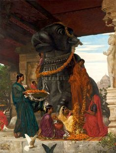 macimuvek:  The handmaidens of Sivawara preparing the sacred bull at Tanjore for a festival - Valentine Cameron Prinsep