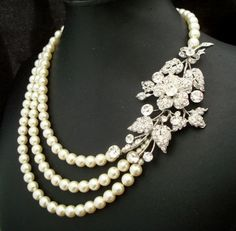 Rhinestone Necklace, Ivory Swarovski Pearls, Flower Rhinestone Brooch Necklace