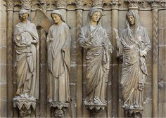 Sculptures from the Central Portal of Reims Cathedral. c. 1230-1255