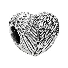 PANDORA 'Angelic Feathers' Charm ($50) ❤ liked on Polyvore featuring jewelry, pendants, silver, charm pendant, heart shaped jewelry, feather jewelry, charm jewelry and pandora charms