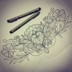 Chest piece design. Jewels/ocean/floral