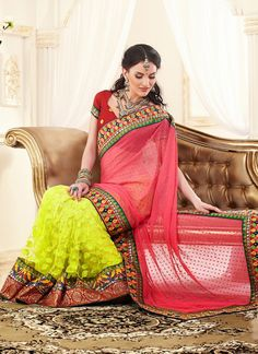 Grab The Second Look In This Elegant Attire For This Season. Pamper The Women In You With This Beautiful Salmon, Yellow Chiffon & Super Net Saree. Beautified With Chikan Work, Floral Patch, Resham, Sequins, Stones & Unique Border Work Work All Synchronized Well With The Pattern And Design Of The Attire.