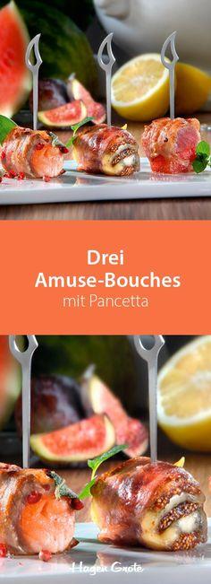 Drei Amuse-Bouches mit Pancetta