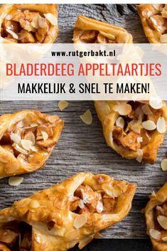 Wie houdt er niet van appeltaart? Met deze snelle en makkelijke appeltaart van bladerdeeg heb je binnen no-time versgebakken appeltaartjes. Door het koelverse bladerdeeg van Tante Fanny als basis te gebruiken voor deze snelle appeltaart kost de voorbereiding weinig tijd. Dus binnen een kwartier kunnen ze de oven in! Ze hebben iets weg van de bekende appelflappen, maar omdat ik ze net wat anders heb gevouwen zijn ze toch weer anders. #RutgerBakt #Appeltaart #Bladerdeeg Dutch Recipes, Apple Recipes, Sweet Recipes, Cooking Recipes, Delicious Fruit, Yummy Food, Feel Good Food, Puff Pastry Recipes, Party Finger Foods