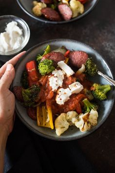 21. One-Pan Roasted Sausage and Vegetables #greatist https://greatist.com/eat/goat-cheese-recipes