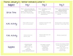'Winter Animal' Lesson Plan : Preschool and Toddler Winter Themed Activities