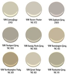 """trying to decide on a """"greige"""" to repaint the living room (already). these are some benjamin moore picks."""